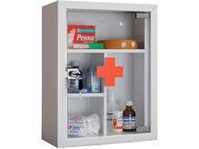 Аптечка металлическая со стеклянной дверцей на замке
